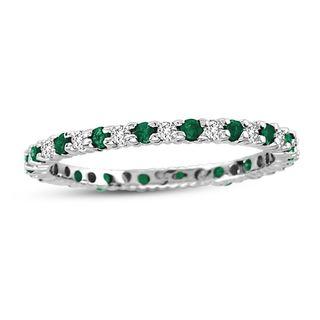 Suzy Levian 14K White Gold Diamond and Emerald Eternity Band Ring