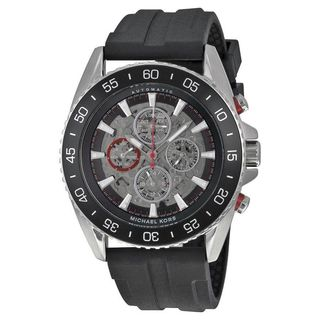 Michael Kors Men's MK9013 'Jet Master' Chronograph Automatic Black Silicone Watch