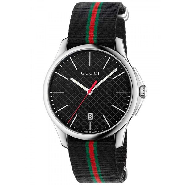 Gucci Men's YA126321 'G-Timeless' Black green and red Nylon Watch