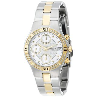 Pulsar Women's PF8212 Chronograph Crystal Two-Tone Stainless Steel Watch