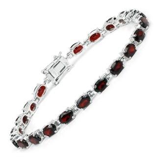 Olivia Leone Sterling Silver 10 3/4ct Garnet Bracelet