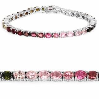 Olivia Leone Sterling Silver 12 3/4ct Multi Tourmaline Bracelet