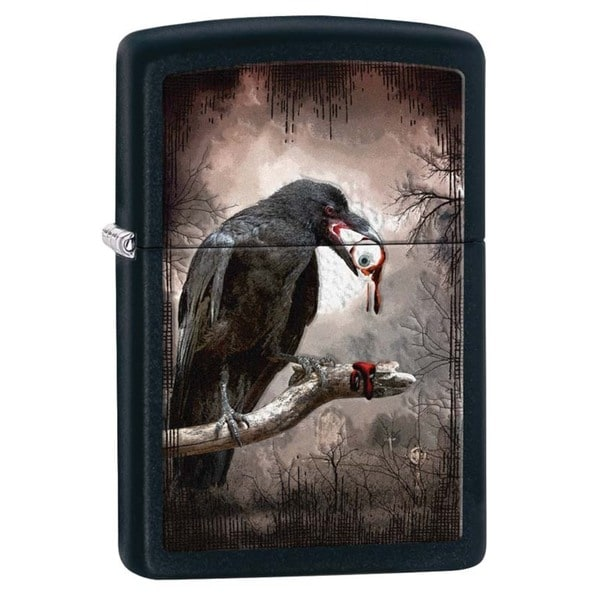 Zippo Goth Raven Eyeball Black Matte Lighter