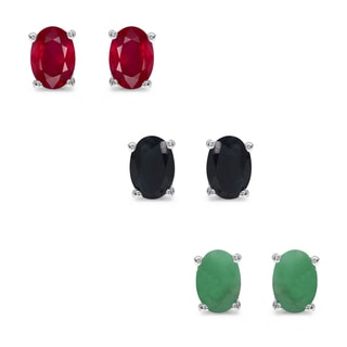 Malaika Sterling Silver 3 1/10ct Emerald Ruby and Sapphire Earrings