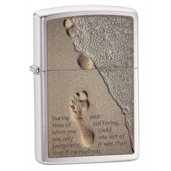 Zippo Sand Foot Print Brushed Chrome Lighter