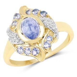 Olivia Leone Two-tone Sterling Silver 1 5/8ct Tanzanite Ring