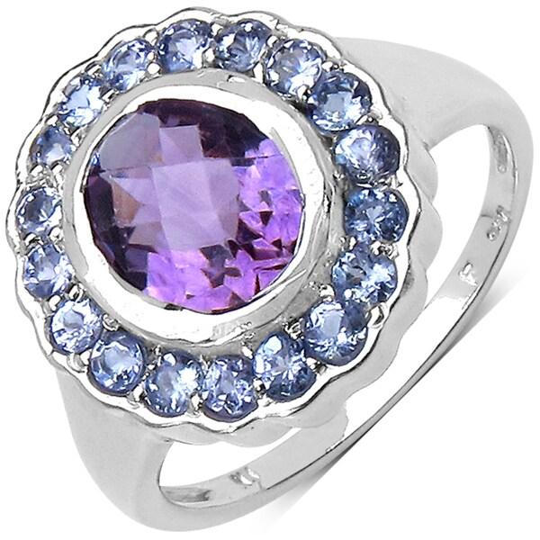 Malaika Sterling Silver 2 1/2ct Amethyst and Tanzanite Ring