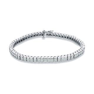 Auriya 14k White Gold 3ct TDW Princess Cut Diamonds Tennis Link Bracelet (I-J, SI1-SI2)
