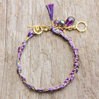 Gold Overlay 'Purple Imagination' Multi-gem Bracelet (4 mm) (Thailand)