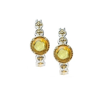 One-of-a-kind Michael Valitutti Palladium Silver and Carved Amber Earrings