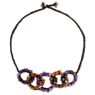Handcrafted Amethyst Carnelian 'Chain Reaction' Necklace (Thailand)