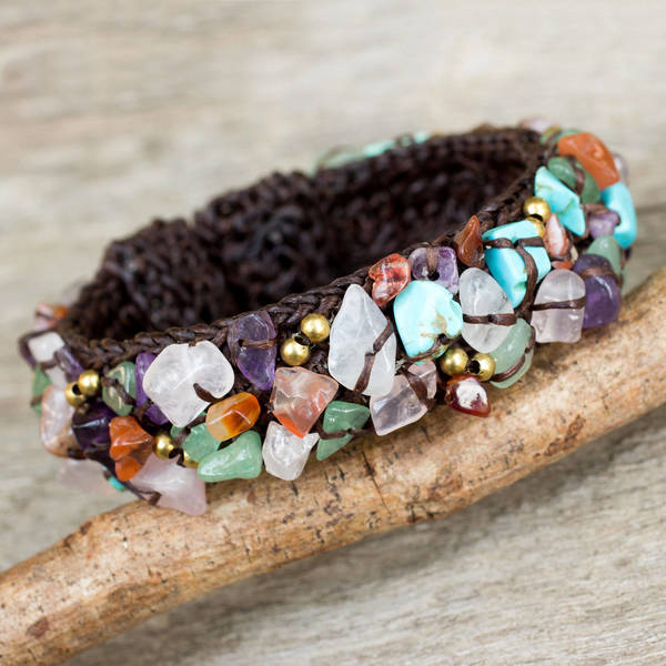Handcrafted Multi-gemstone 'Colorful Day' Cuff Bracelet (Thailand) 16241439