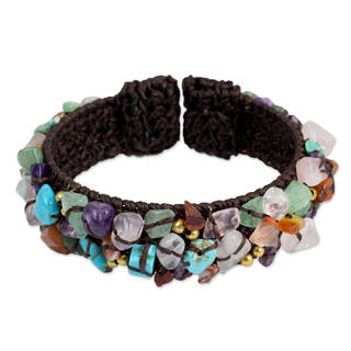 Handcrafted Multi-gemstone 'Colorful Day' Cuff Bracelet (Thailand)