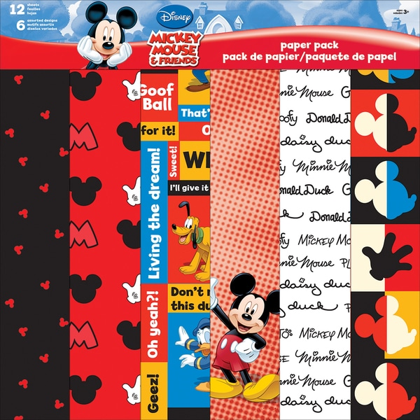 Disney Paper Pack 12inX12in 12 SheetsMickey & Friends