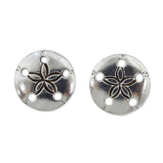 Handcrafted Sterling Silver 'Sand Dollar' Earrings (Thailand)