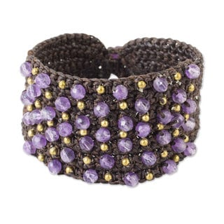 Handcrafted Brass 'Life in Pai' Amethyst Bracelet (Thailand)