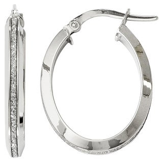 14k White Gold Polished Glimmer Infused Oval Hoop Earrings