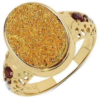 Malaika 14k Goldplated Sterling Silver 4 3/4ct Golden Drusy Garnet and White Topaz Ring