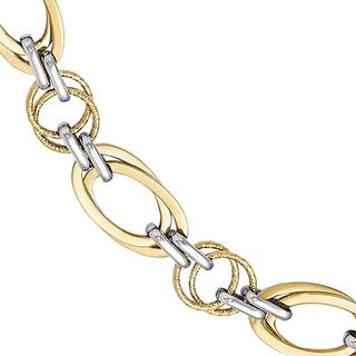14k Two-tone Gold Polished and Textured Fancy Link Bracelet