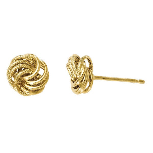 14k Gold Polished and Textured Post Earrings