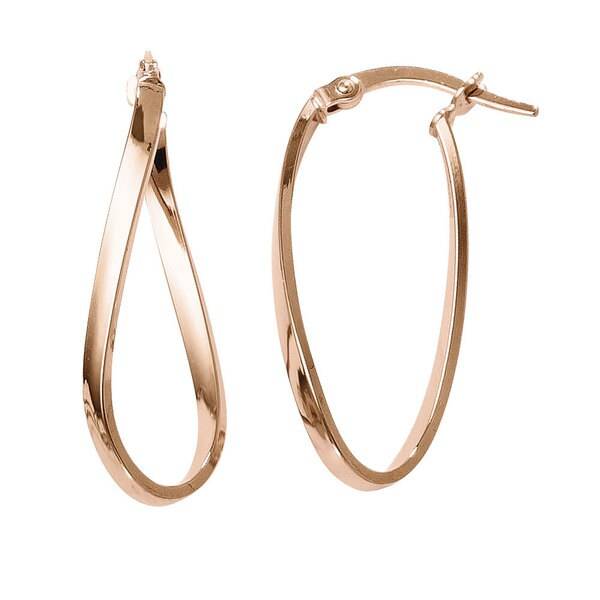 10k Rose Gold and Rose Gold Polished Hinged Hoop Earrings