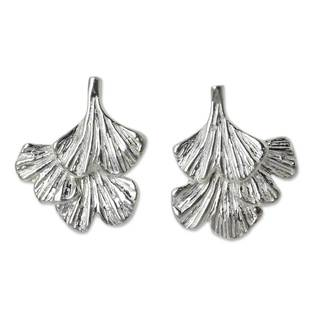 Handcrafted Sterling Silver 'Ginkgo Inspired' Earrings (Thailand)
