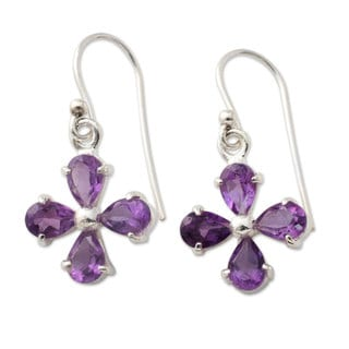Handcrafted Sterling Silver 'Lilac Blossom' Amethyst Earrings (India)