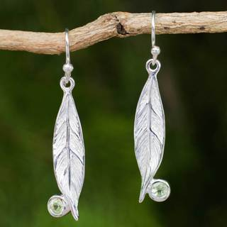 Sterling Silver 'Dew-kissed Morning' Peridot Earrings (Thailand)
