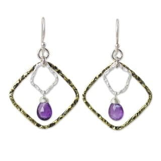 Handcrafted Gold Overlay 'Dichotomy' Amethyst Earrings (Thailand)