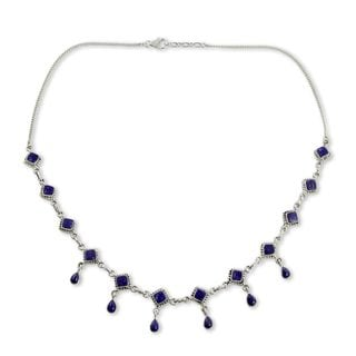 Handcrafted Sterling Silver Queen of Diamonds Lapis Lazuli Curb Style Necklace (India)