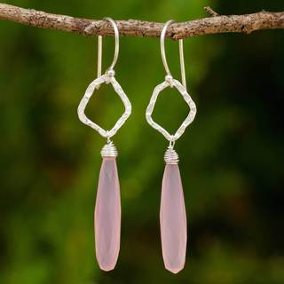 Handcrafted Sterling Silver 'Empowered' Chalcedony Earrings (Thailand)