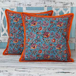 Set of 2 Handcrafted Cotton 'Jaipur Dawn' Cushion Covers (India)