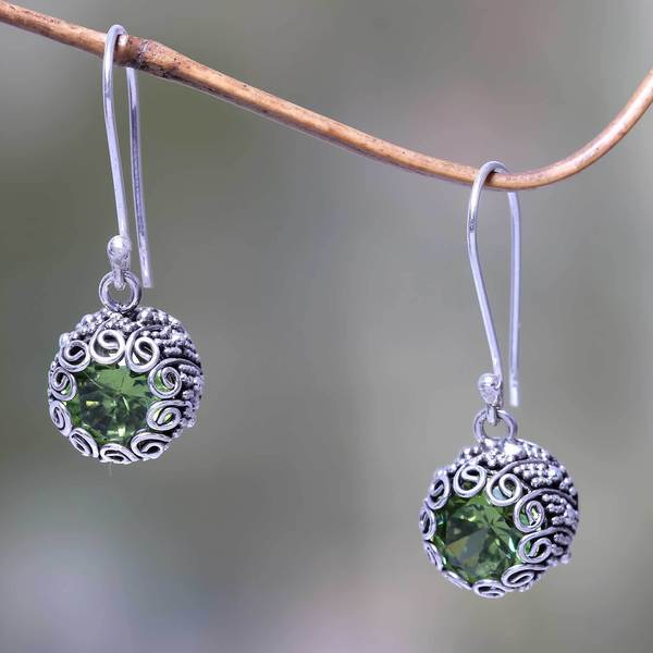 Handcrafted Sterling Silver 'Sanur Moon' Peridot Earrings (Indonesia)