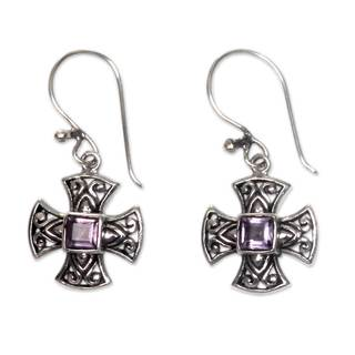 Maltese Cross Square Cut Faceted Purple Amethyst Set in 925 Sterling Silver Dangle Cross Earrings (Indonesia)