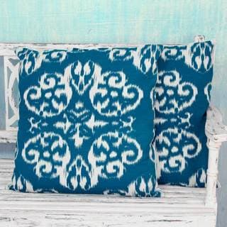 Set of 2 Handcrafted Cotton 'Ikat Mosaics' Cushion Covers , Handmade in India