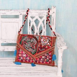 Handcrafted Cotton 'Red Rajasthan' Shoulder Bag (India)