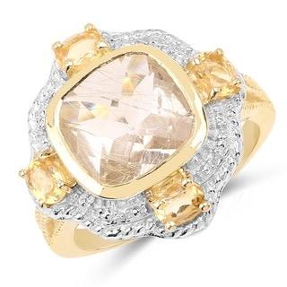 Olivia Leone Two-tone Sterling Silver 4ct Citrine and Golden Rutile Quartz Ring