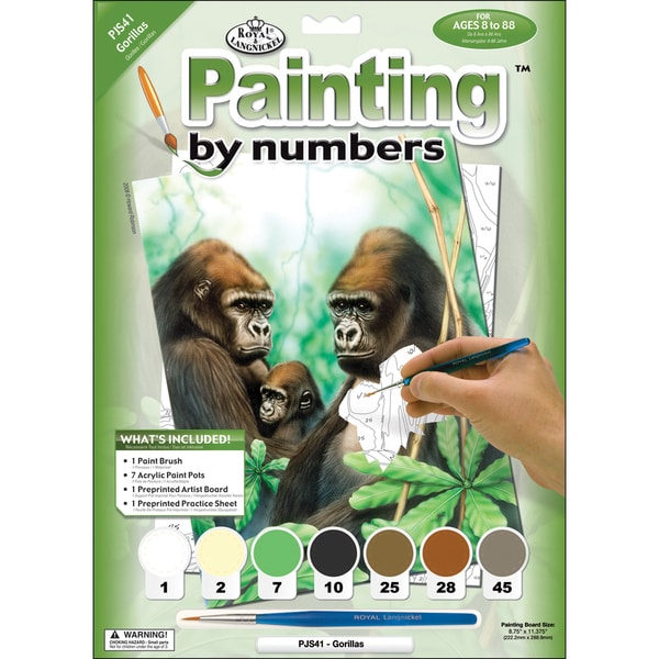 Junior Small Paint By Number Kit 8.75inX11.75inGorillas