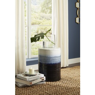 Quinlyn Blue and White Garden Stool