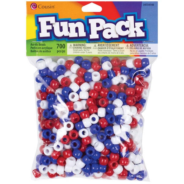Fun Pack Acrylic Pony Beads 700/PkgRed, White & Blue