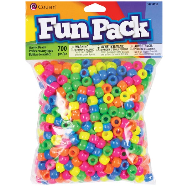 Fun Pack Acrylic Pony Beads 700/PkgNeon