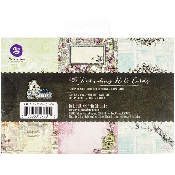 Garden Fable Journaling Notecards 4inX6in3 Each Of 15 Designs