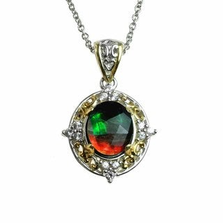 One-of-a-kind Micheal Valitutti Sterling Silver Ammolite and White Zircon Pendant
