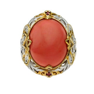 One of a Kind Michael Valitutti Salmon Bamboo Coral and Ruby Gold Embrace Ring