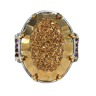 One of a Kind Michael Valitutti Druzy and Ametrine Palladium Silver Ring