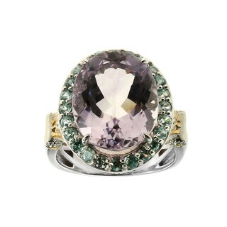 One of a Kind Michael Valitutti Pink Amethyst and Blue Zircon Palladium Silver Ring