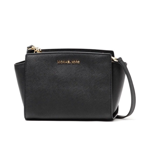 MICHAEL Michael Kors Selma Black/ Gold Mini Messenger Bag