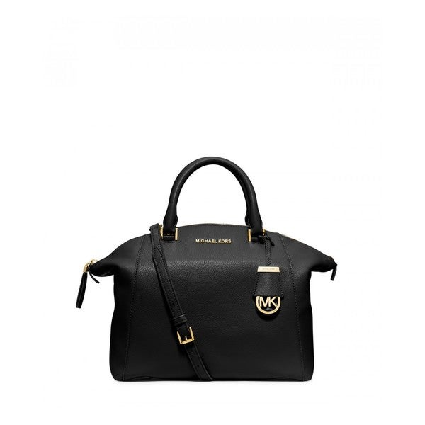 MICHAEL MICHAEL KORS Riley Medium Black Leather Satchel