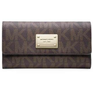 MICHAEL Michael Kors MK Brown Logo/ Gold Checkbook Wallet
