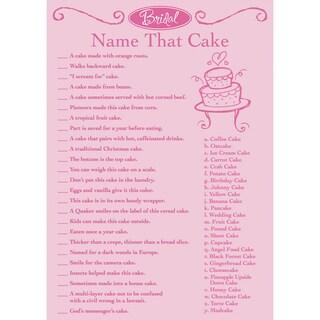 Bridal Game Sheets 50/PkgName That Cake